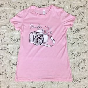 Bella Canvas Pink Smile T Shirt with Camera Design